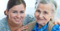 Senior woman with her home caregiver.